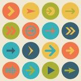 Pfeilzeichen-Ikonensatz, flaches Design, Vektorillustration von Webdesignelementen Stockfotos