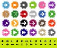 Pfeilzeichen-Ikonenset Stockbilder