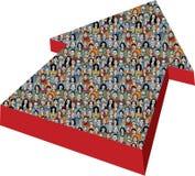 Pfeilzeichen mit großen Gruppen-Geschäftsleuten Stockbilder