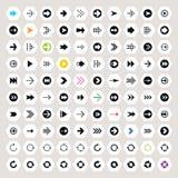 Pfeilzeichenikone eingestellt auf Hexagonformen lizenzfreie abbildung