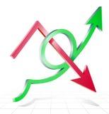 Pfeilzeile Erfolg, der aufwärts wachsen und Abnahme vektor abbildung