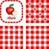 Äpfel u. Gingham-nahtlose Muster Stockfotos