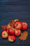 Äpfel und Blätter auf blauem dunklem hölzernem Hintergrund Stockbild