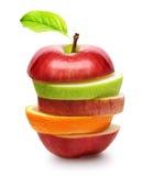 Äpfel und orange Frucht Lizenzfreies Stockbild