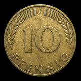 10 pfennig German coin. Front side of 10 pfennig German Mark coin royalty free stock photography
