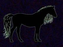 Pferd auf blauem Hintergrund Stockfoto