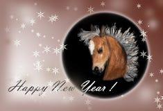 Pferd auf Weihnachtskarte. Lizenzfreie Stockbilder