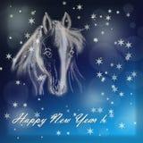 Pferd auf Weihnachtskarte. Lizenzfreie Stockfotografie