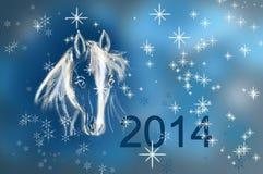 Pferd auf Weihnachtskarte. Stockfotografie