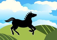 Pferd, das über Hügel läuft Stockfotografie