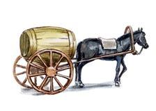Pferd, das ein Faß trägt Stockfoto