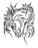 Pferd, das hinunter Linie Kunst, Stammes- schaut Freihändiges Vektor illustratio Lizenzfreies Stockbild