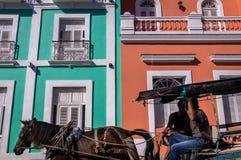 Pferd, das Wagen vor bunter Kolonialfassade zieht stockfoto