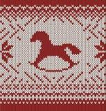 Pferd. Gestrickter nahtloser Hintergrund Lizenzfreies Stockfoto