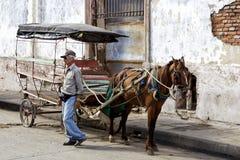 Pferd gezeichneter Wagen Stockfotografie