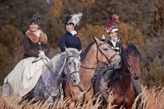 Pferd-Jagd mit Reitern in der Reitgewohnheit Stockbild