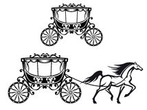 Pferd mit altem Wagen Lizenzfreie Stockfotos