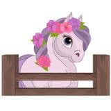 Pferd mit Blumen Stockfoto