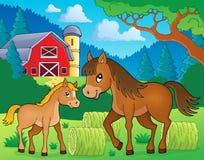 Pferd mit Fohlenthemabild 3 Stockbild