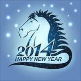 Pferd mit Sternen als Symbol von 2014 Stockbild
