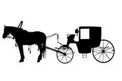 Pferd mit Wagen Stockfotos