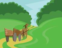 Pferd mit Warenkorb-Illustration Stockfoto
