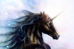 Pferd, schwarzes Einhorn im Raum, abstraktes backg Farbe der Illustration Stockfoto