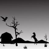 Pferd und Adler nahe einem Haus Stockbild