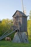 Pferd und alte Windmühle Stockfotos