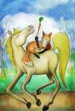 Pferd und Fuchs mit Karotte Stockfotos