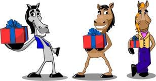 Pferd und Geschenke Stockfoto