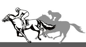 Pferd und Jockey auf einem Gewinnen lizenzfreie abbildung