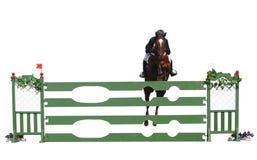 Pferd und Mitfahrer über einem Sprung Stockfotos