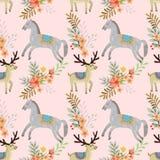 Pferd und Rotwild im nahtlosen Muster des Gartens vektor abbildung