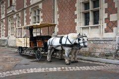 Pferd und Wagen an der richtigen Stelle du Chateau Square, Blois Lizenzfreies Stockbild