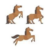 Pferd wirft flache Illustration auf Stockfoto