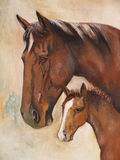 Pferde, Ölfarbe Stockfotografie
