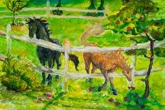 Pferde, die auf dem Sonnenunterganggebiet, Pferd im summerlandscape auf dem Gebiet weiden lassen Art Painting Das Foto wird in de lizenzfreies stockfoto