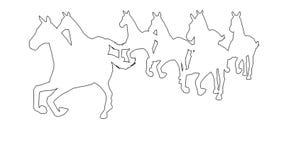 Pferde, die - getrennt auf weißem Schirm galoppieren stock abbildung