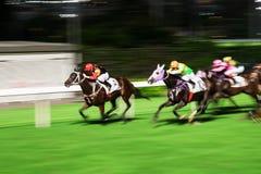 Pferde geritten von den Jockeys, die schnell während des Rennens laufen Bemühung zum Sieg Bewegung geverwischt, getontes horizont stockbilder