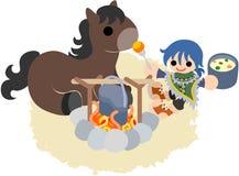 Pferde und Leute ~Camping des traveler~ Lizenzfreie Stockfotografie