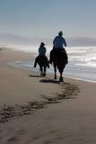 Pferde und Mitfahrer auf Strand Lizenzfreie Stockfotos