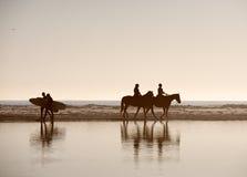 Pferde und Surfer lizenzfreie stockfotografie