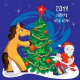 Pferde- und Weihnachtsbaum Vektor Abbildung