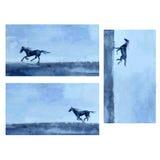Pferdehand gezeichnete Aquarellvektor-Zusammenfassungsillustration, Fahne mit Pferderennen, wildes Tier, Schablonengrußkarte Stockfoto