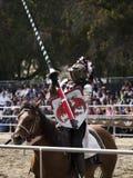 Pferdehintere Ritter bewaffneten vollen Gang Lizenzfreies Stockbild