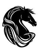 Pferdekopf mit langem Mähnenschwarzvektor Lizenzfreie Stockfotografie