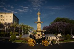 Spain Andalucia horse-drawn carriage in Seville traffic. Daytime stock images