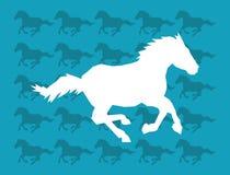 Pferdelaufende Schattenbildikone über Musterbild Stockbild
