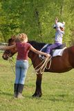 Pferden-Mitfahrer und Ausbilder Lizenzfreie Stockfotografie